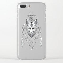 Geometric Wolf Dream Catcher Clear iPhone Case