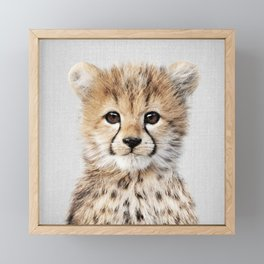 Baby Cheetah - Colorful Framed Mini Art Print