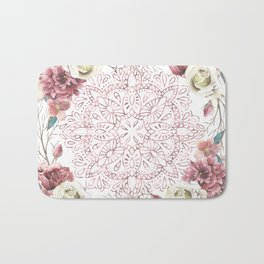 Mandala Garden Roses Warm Rose Gold Bath Mat