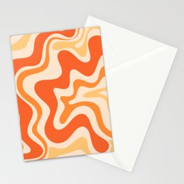 Tangerine Liquid Swirl Retro Abstract Pattern Stationery Cards
