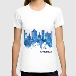 Overland Park Kansas Skyline Blue T-shirt