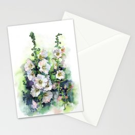 Watercolor Hollyhocks white flowers Stationery Cards