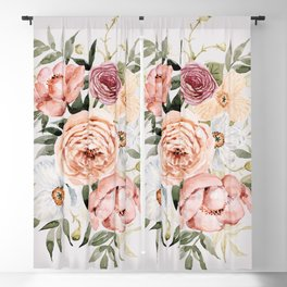 Muted Peonies and Poppies Blackout Curtain