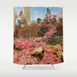 1888 Classical Masterpiece 'The Roses of Heliogabalus' by Sir Lawrence Alma-Tadema Shower Curtain