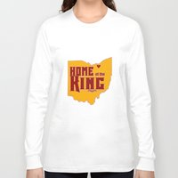 lebron Long Sleeve T-shirts featuring Home of the King (Red) by Denise Zavagno
