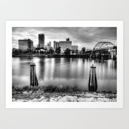 Downtown Little Rock City Skyline Over The Arkansas River - Black and White Art Print