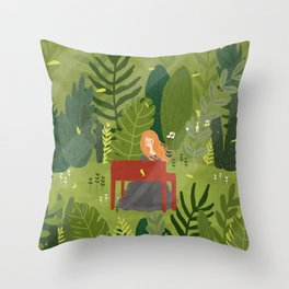 Melody and Forest Throw Pillow
