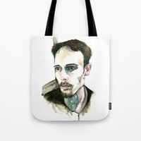depression Tote Bags featuring Portrait of Depression by ArtbyLumi