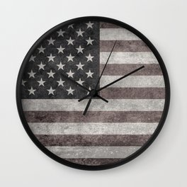 US flag in desaturated grunge Wall Clock