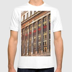 Downtown Reflections MEDIUM White Mens Fitted Tee