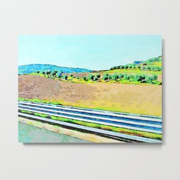 Calabrian landscape with plowed countryside and row of olive trees Metal Print