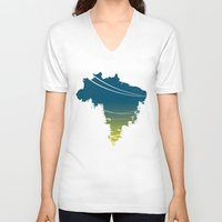 brazil V-neck T-shirts featuring Brazil by jenkydesign