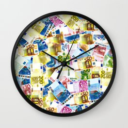 Colorful Euros Pattern - Money - LOA - Abundance - Cash Wall Clock