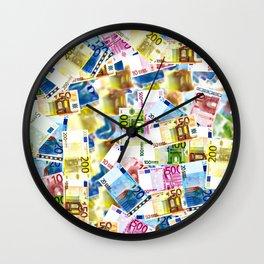 Bold Colorful Euros Pattern - Money - LOA - Abundance - Cash Wall Clock