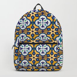 Yellow and Blue Moroccan Tile Backpack