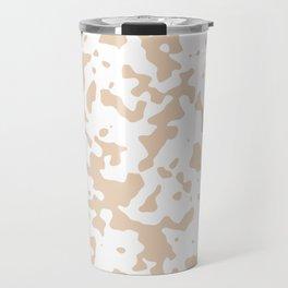 Spots - White and Pastel Brown Travel Mug