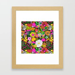 60's Groovy Garden in Chocolate Brown Framed Art Print