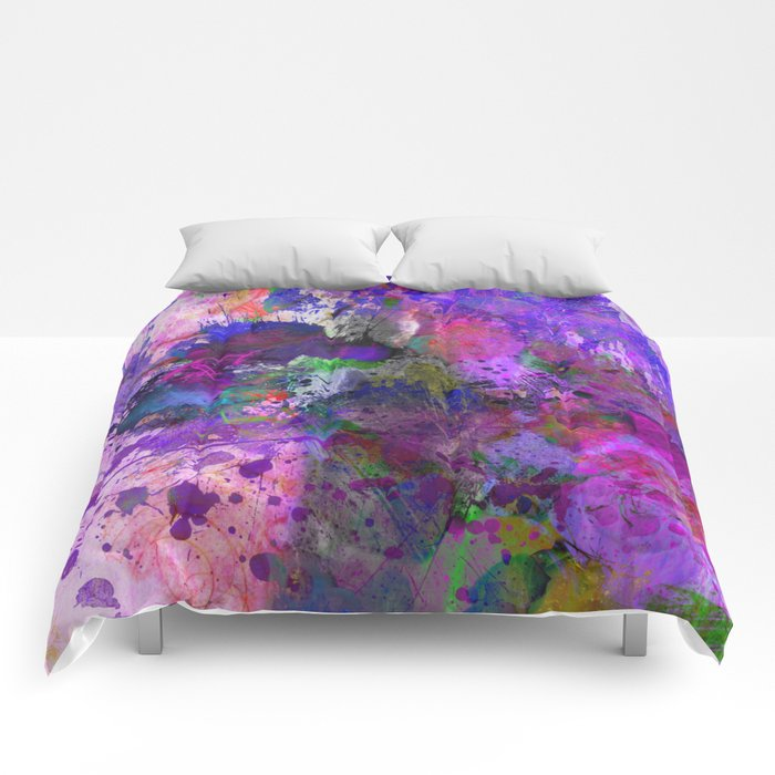 Lilac Chaos - Abstract Comforters