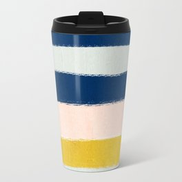 Esther - navy mint gold painted stripes brushstrokes minimal modern canvas art painting Travel Mug