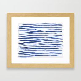 Irregular watercolor lines - blue Framed Art Print