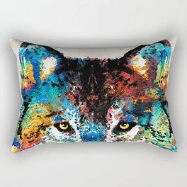 Wolf Art Print - Hungry - By Sharon Cummings Rectangular Pillow