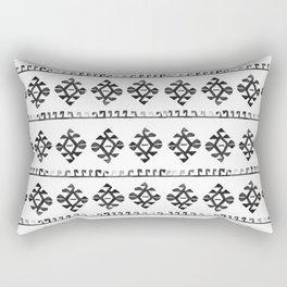 Black and White Bohemian Tribal Ethnic Kilim Pattern Rectangular Pillow