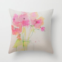 Pink Flowers - Colorful Pink Flowers In The Vase Throw Pillow