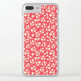 Sunkissed Coral Coconut Cream Flower Pattern Clear iPhone Case