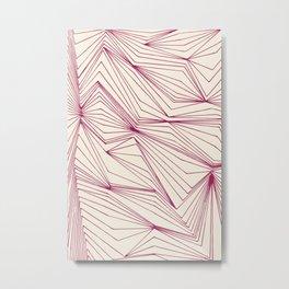 Zig Zag Lines Pink Metal Print