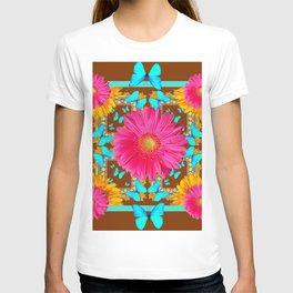 Coffee Brown Pink Flower Blue Butterfly Floral Art T-shirt