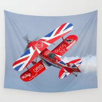 plane Wall Tapestries featuring Stunt plane by Peaky40
