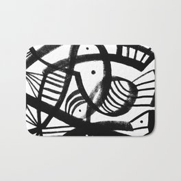 Black and white abstract mid century Bath Mat