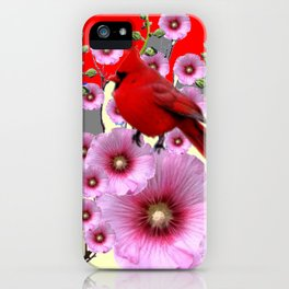 MODERN  RED ART PINK HOLLYHOCKS & RED CARDINAL BIRD iPhone Case