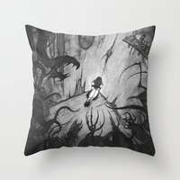 monsters Throw Pillows featuring Monsters by Michael Brack