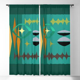 Watching The Watchers Mid Century Modern Geometric Abstract Blackout Curtain