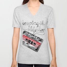 Keeping it old school boombox tape 80s music shirt Unisex V-Neck