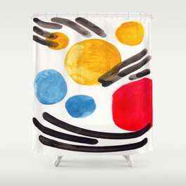 Mid Century Modern Abstract Juvenile childrens Fun Art Primary Colors Watercolor Minimalist Pop Art Shower Curtain