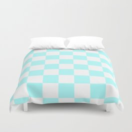 Checkered - White and Celeste Cyan Duvet Cover
