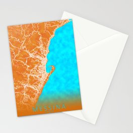 Messina, Italy, Gold, Blue, City, Map Stationery Cards