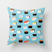 sushi Throw Pillows featuring Sushi! by Sara Showalter