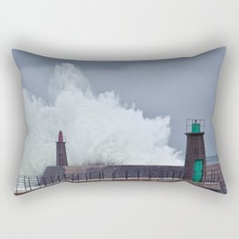 Stormy wave over old lighthouse. Rectangular Pillow