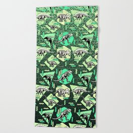 90's Dinosaur Skeleton Neon Pattern Beach Towel