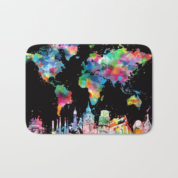 world map city skyline 3 Bath Mat