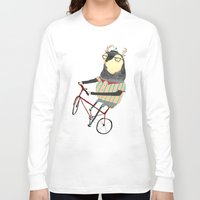 bike Long Sleeve T-shirts featuring Deer on Bike.  by Ashley Percival illustration