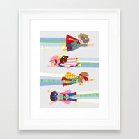 superheroes Framed Art Prints featuring Superheroes  by ilana exelby