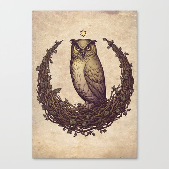 Owl Hedera Moon Canvas Print
