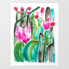 Pink Happy Plants Art Print