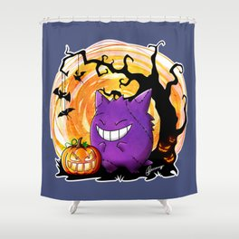 Happy Halloween Gengar Shower Curtain