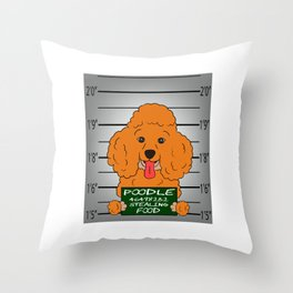 Brown Poodle Caught Stealing Food T-shirt Perfect Gift For Dog Breed Poodle Lover T-shirt Design Throw Pillow