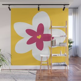 Pink Plumeria (Yellow) Wall Mural